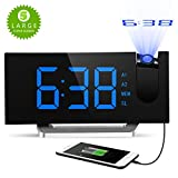 #10: Digital Projection Clock, Atmoko FM Radio Alarm Clock with USB Charging Port, Dual Alarms, Snooze Function, [Curved-Screen] 5-inch Large LED Display with Dimmer, 12/24 Hours, Backup Battery-Blue