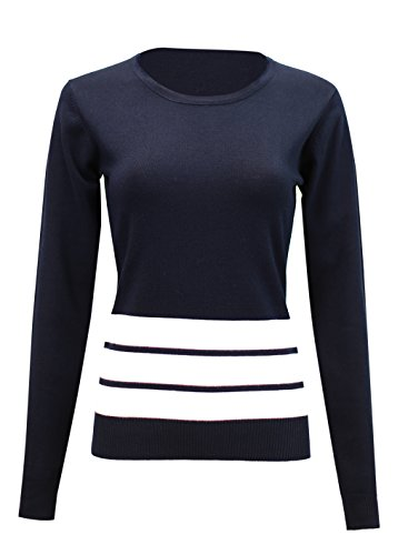 PINMUSE Better Line Striped Knit Sweater Pullover SW585 Navy-S