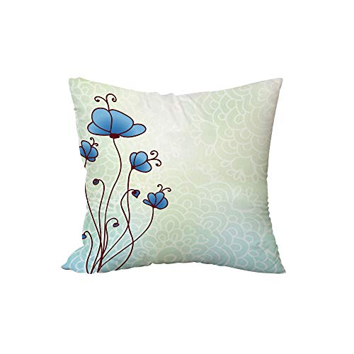 Polyester Throw Pillow Cushion,Floral,Spring Petal Birthday Celebration Valentines Flourish Beauty Girlish Print Decorative,Pale and Violet Blue,15.7x15.7Inches,for Sofa Bedroom Car Decorate