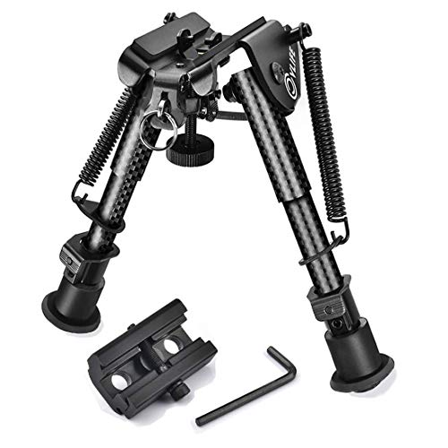 CVLIFE 6-9 Inches Carbon Fiber Rifle Bipod with Picatinny Adapter