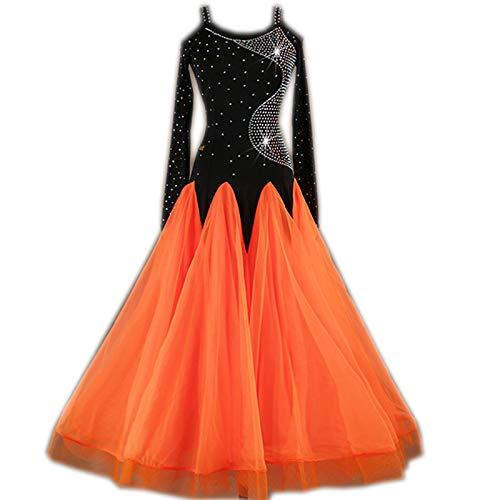 garuda 社交ダンスドレス モダンダンスウェアロングワンピース  練習着 サイズオーダー可 B07JK8JSYR 黒+オレンジ,XXL
