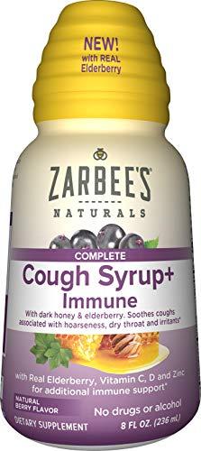 Zarbee's Naturals Complete Daytime Cough Syrup + Immune with Dark Honey, Real Elderberry, Vitamin C, D & Zinc, 8 oz Bottle