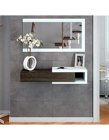 HABITMOBEL Mueble de Recibidor con cajón + Espejo Incluido, Dimensiones 19 x 95 x 26