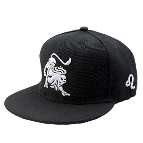 Elee New Unisex Black Baseball Cap Snapback Hat Zodiac 12 Constellation Hip Hop Adjustable Fashion (Leo)