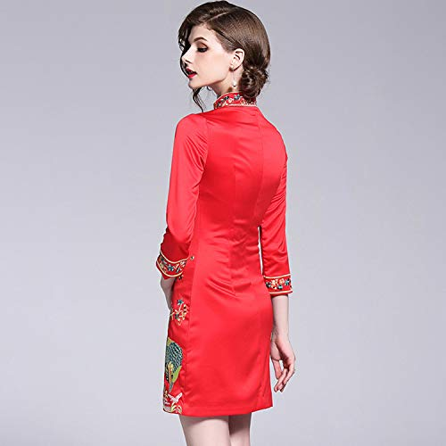 Sera Di Cinese Cheongsam Vintage Affari Red Da Vestito Stile Ricamo Tradizionale Xcxdx Sottile Del qSHnttWP