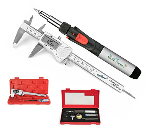 EAGems Digital Vernier Caliper, an IP54 Stainless Steel Measuring Tool Plus Butane Soldering Iron Kit with Hot Knife, Welding, Torch Options-Great Woodworking or Jeweler Combo Pack by EAGems