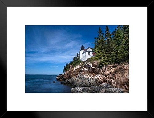 - Poster Foundry Living on The Edge Lighthouse on Coast of Maine Photo Art Print Matted Framed Wall Art 26x20 inch