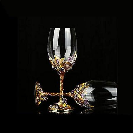 Copa de Vino Tinto, artesanía de Esmalte Copa de Vino Pintada, Accesorios de Vino, Cristal Transparente sin Plomo soplado a Mano, Caja de Regalo de Lujo Envuelta, colección Delicada
