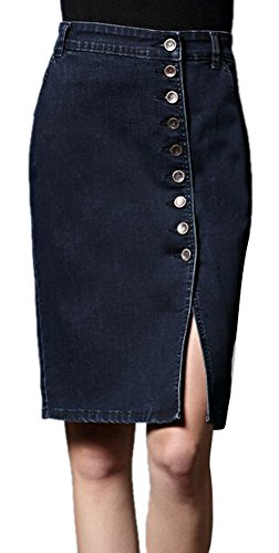 - Women's Classic Button Front Boycon A-Line Slim High Waist Denim Midi Skirt Grey