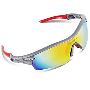 RIVBOS 805 Polarized Sports Sunglasses Sun Glasses with 5 Set Interchangeable Lenses for Men Women Cycling Baseball(Grey&Red)
