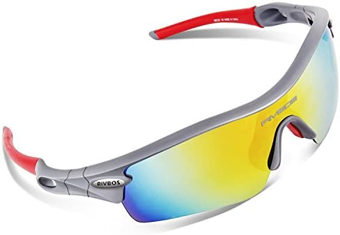 09c42c45d0 Amazon.com  RIVBOS 805 Polarized Sports Sunglasses Sun Glasses with 5 Set  Interchangeable Lenses for Men Women Cycling Baseball(Grey Red)  Sports    Outdoors