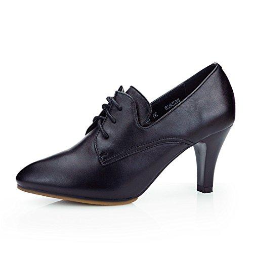 WXMDDN América Zapato de Baile Zapatos de Baile Negro 7cm Exterior, Zapatos de Mujer de Tacón Alto Baila La Danza Moderna Zapatos de Mujer Negro 7cm (Tendón Inferior)