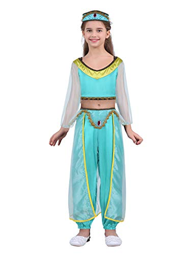 iEFiEL Kids Girls Princess Halloween Costume Dressing up Party Dress Off Shoulder Crop Top with Pants Headband Lake Blue -
