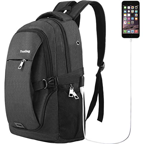 Laptop Backpack for Men Women Back Pack Waterproof College Computer daypacks teenagers's Travel bagpacks with External USB Charging Port & Built-in USB Charging Cable Business Backpacks by Trustbag