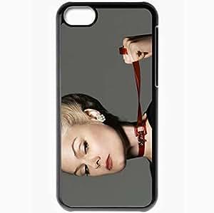 Personalized iPhone 5C Cell phone Case/Cover Skin Anja Garbarek Girl Belt Neck Blonde Black