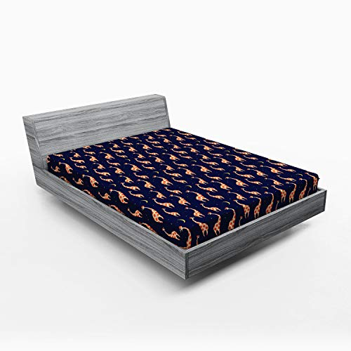Ambesonne Giraffe Fitted Sheet, Baby Toddler Nursery Pattern with Funny Animals on Night Sky, Soft Decorative Fabric Bedding All-Round Elastic Pocket, Queen Size, Navy Blue Dark Orange and Beige