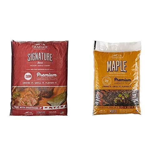 Traeger-Grills-PEL331-Signature-Blend-100-All-Natural-Hardwood-Pellets-20-lb-Bag-Grills-PEL308-Maple-100-All-Natural-Hardwood-Pellets-Grill-Smoke-Bake-Roast-Braise-and-BBQ-20-lb-Bag