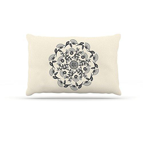 50 by 60\ Kess InHouse Famenxt Black & White Decorative Mandala  Geometric Fleece Dog Bed, 50 by 60
