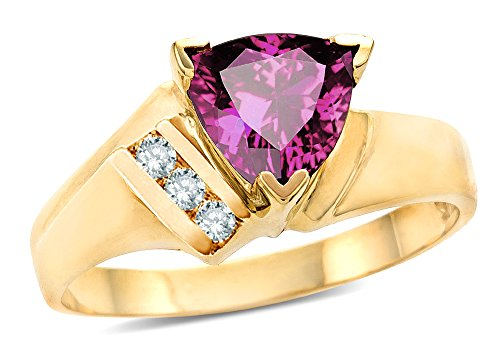 Star K Genuine Pink Tourmaline Triangle Trillion 7mm Contemporary Modern Designer Ring 10k Yellow Gold Size ()