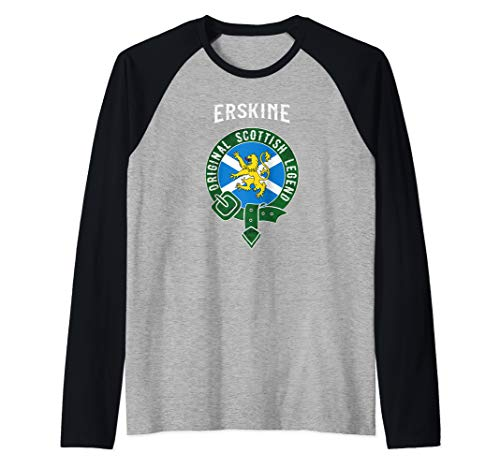 Erskine Clan Scottish Legend Scotland Flag Belt Raglan Baseball Tee