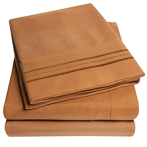 1500 Supreme Collection Extra Soft Full Sheets Set, Mocha - Luxury Bed Sheets Set with Deep Pocket Wrinkle Free Hypoallergenic Bedding, Over 40 Colors, Full Size, Mocha