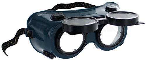 RamPro Flip-Up Front Welding Goggles | 50mm Eye Cups, Oxy-Acetylene Shade #5 Lens Safety Glasses – Use for Welding, Soldering, Torching, Brazing & Metal Cutting (Great as Steampunk Costume)