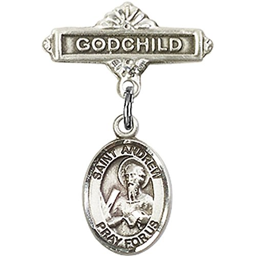 0.625 Pin Baby (Sterling Silver Baby Badge with St. Andrew the Apostle Charm and Godchild Badge Pin 1 X 5/8 inches)