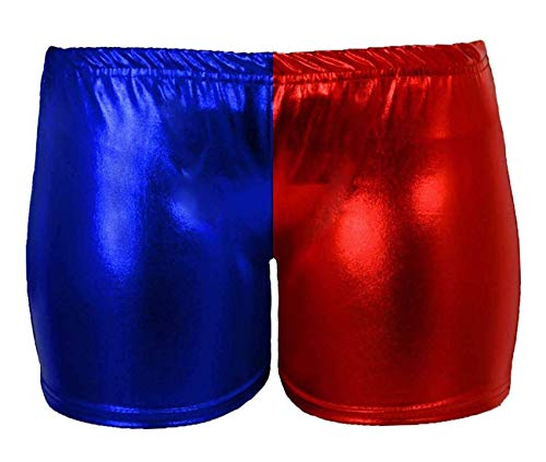 GirlzWalk Girls Kids Harley Quinn Suicide Squad Halloween Costume Shiny Wet Look Leggings, Pants (Red&Blue Hot Pant, 11-12 Years -
