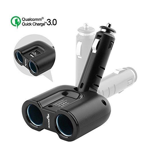 Rocketek 2-Socket 2-Port USB Car Charger Splitter Adapter, 120W 12V/24V DC Outlet Multi Socket Car Cigarette Lighter USB with 1-Port 3.1A & 1-Port QC3.0 Dual Sockets Car Power Splitter Charger by Rocketek