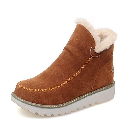 Womens Fur Lined Ankle Boots Casual Soft Fleece Sole Short Plush Folck Slip On Flat Winter Warm Snow Shoes Brown
