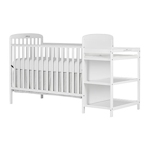 Dream On Me, 4 in 1 Full Size Crib and Changing Table Combo, White by Dream On Me