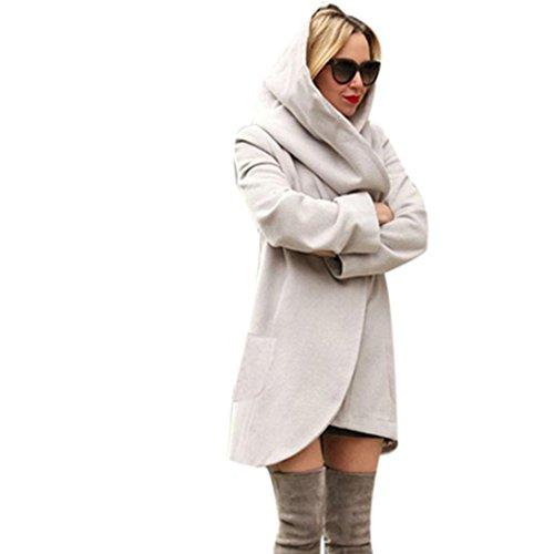 Coversolate Las mujeres de la manera adelgazan el abrigo largo Windbreaker de la chaqueta del abrigo outwear la capa de la rebeca Gris