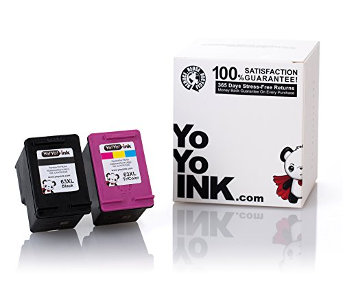 YoYoInk Remanufactured Ink Cartridge Replacement for HP 63 63XL (1 Black 1 Color) for Envy 4520 OfficeJet 4650 3830 3630 DeskJet 3632