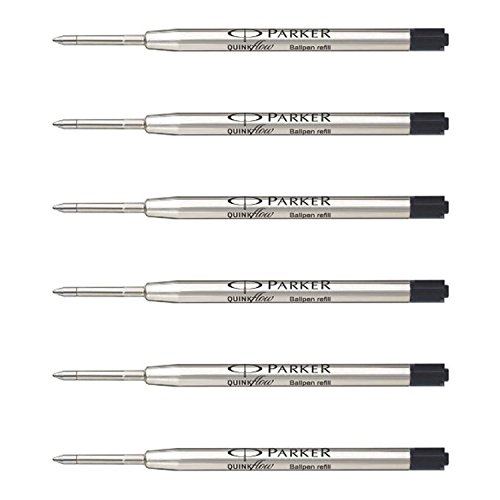 Point Parker Medium (Parker QuinkFlow Ink Refill for Ballpoint Pens, Fine Point, Black Pack of 6 Refills (1782467))