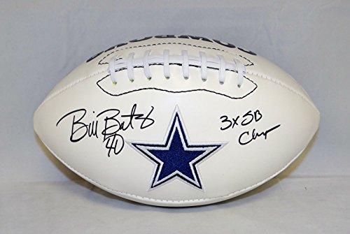 Bill Bates Autographed Dallas Cowboys Logo Football W/SB Champs and JSA W Auth