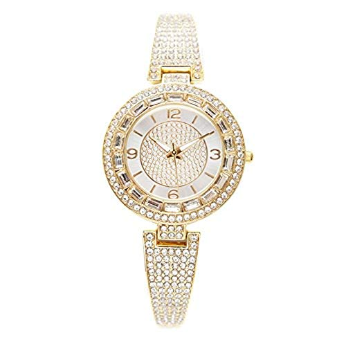 Ladies Baguette Crystal Trim Watch Surrounded by an Abundant Array of Rhinestones - LW10028 Gold