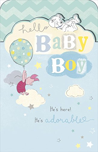 Disney New Baby Boy Card Piglet 101 Dalmatians