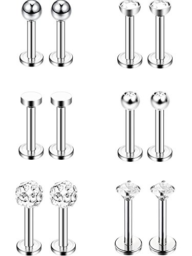 (Sumind 6 Pairs Stainless Steel Nose Studs Tragus Bars Labret Bars Crystal Ball Body Piercing Jewelry, 6 Designs, 16 Gauge (Silver))