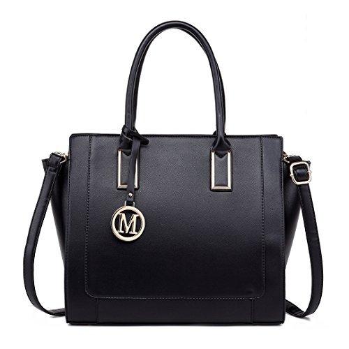 and Women Handbags Bag Designer Structured Miss Work Purses Lulu Black Shoulder qpw4ECI