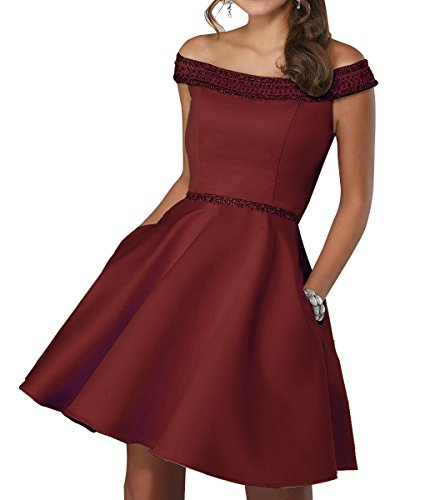 Off Shoulder Beaded Homecoming Dress 2018 Satin A-line Short Cocktail Prom Gown Burgundy 12