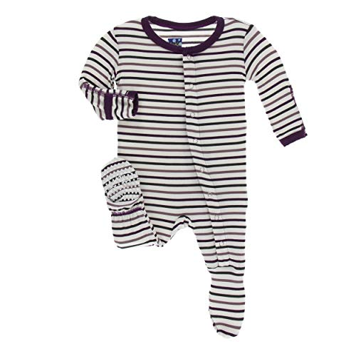 Kickee Pants Little Girls Print Footie with Snaps - Tuscan Vineyard Stripe, 6-9 Months