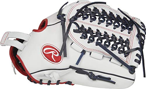 Fastpitch Glove - RAWLINGS RLA125FS-15WNS-3/0 Liberty Advanced Fastpitch Softball Glove, White/Scarlet/Navy, 12.5