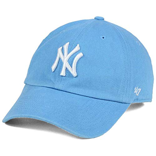 '47 New York Yankees NY Womens Powder Blue Strapback Slouch Clean Up Dad Cap Hat