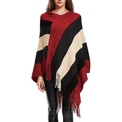 Women's Knitted Sweater Clearance - Women V-Neck Stripe Tassels Cloak Blouse Tops (L, Red) -