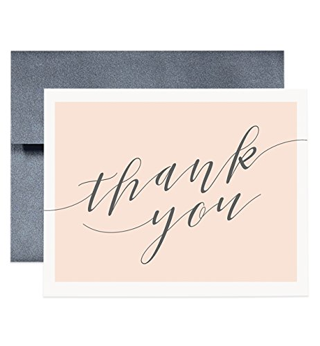 Peach   Gray Thank You Cards   Set Of 8   Elegant Calligraphy Thank You Cards Boxed Set Of Eight Cards   Ty00001 Allie