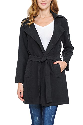 Auliné Collection Womens Peach Skin Asymmetrical Belted Lightweight Anorak Jacket No Zip Black ()
