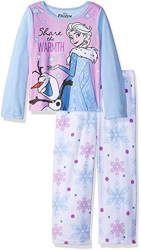 Girls Fleece Pjs (Disney Girls' Little Frozen Elsa 2-Piece Fleece Pajama Set, Winter Warmth,)
