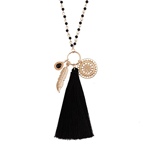 Long Necklaces with Bohemia tassel leaf teardrop disk circle Pendant For Women Girls Y Shaped Necklace Sets (Tassel Drop Necklace)