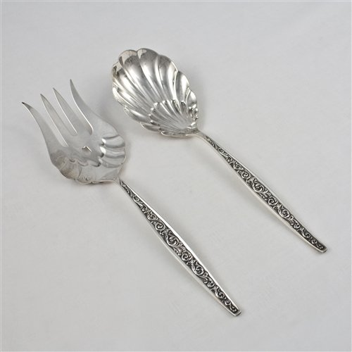 - Renaissance Scroll by Reed & Barton, Sterling Salad Serving Set