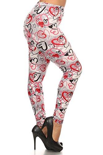 Leggings Depot Premium Quality Ultra Soft Plus Size Valentine Print Leggings Batch6 (L.O.V.E.)